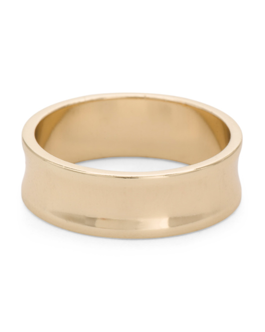 Handmade In Usa 14k Gold Plated Concave Ring