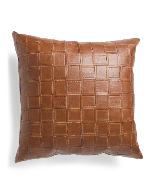 Made In Usa 22x22 Faux Leather Geo Pattern Pillow