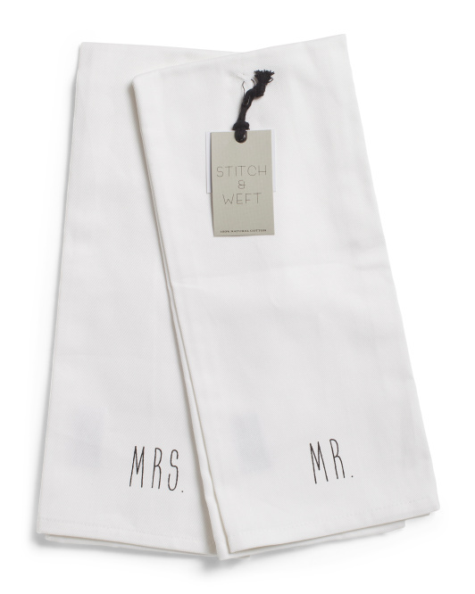 2pk Mr And Mrs Twill Kitchen Towels