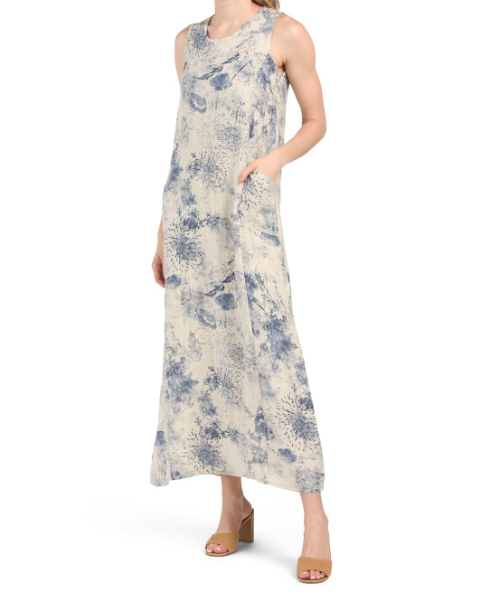 Made In Italy Linen Floral Sleeveless Midi Dress