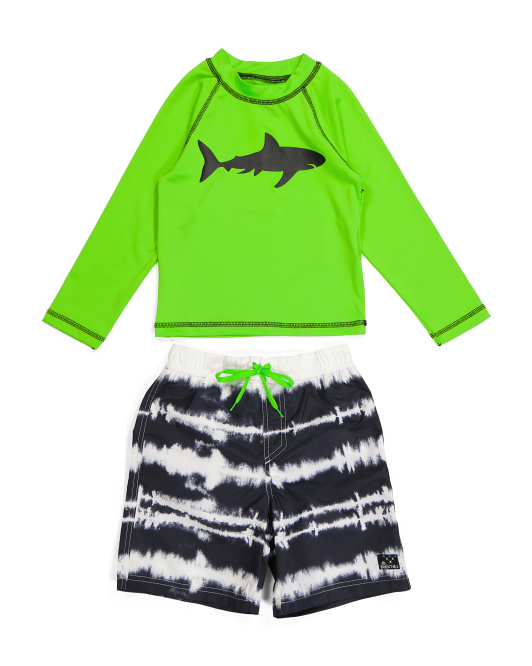 Little Boy Shark Tie Dye Rash Guard Swim Set