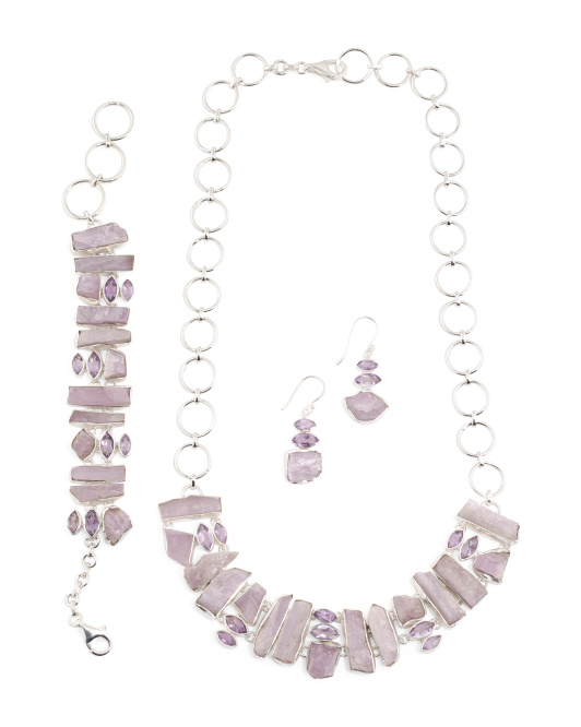 Handcrafted In India Sterling Silver Kunzite And Amethyst Collection