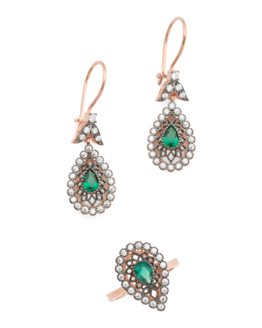 Made In Turkey Rose Gold Tone Sterling Silver Cz Teardrop Collection