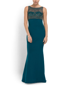 image of Silk Crepe Embellished Gown