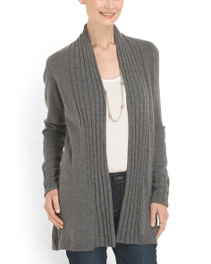 image of Cashmere Rib Stitch Cardigan