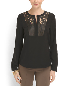 image of Leather Cut Out Bib Blouse