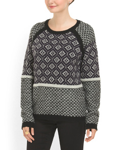 image of Crew Neck Mix Pattern Sweater