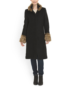 image of Faux Fur Trim Boucle Coat