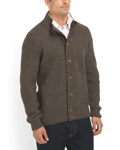 image of Made in Italy Sherpa Collar Cardigan