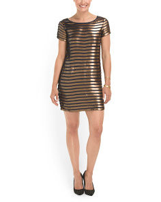 image of Striped Serpent Sequin Dress