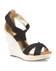 image of Ankle Strap Straw Bottom Wedge