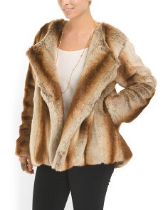 image of Cropped Faux Fur Jacket
