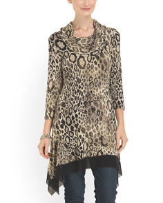 image of Cowl Neck Snake Print Tunic
