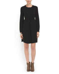 image of Wool Pleat Front Sweater Dress