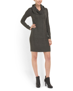 image of Cowl Neck Cabled Sweater Dress