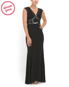 image of Sequin Detail Jersey Gown