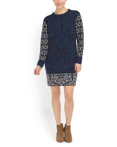 image of Intarsia Shift Sweater Dress