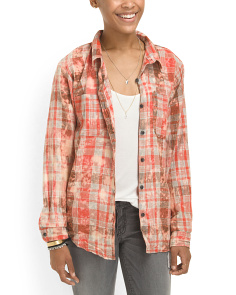 image of Juniors Cotton Destructed Plaid Shirt