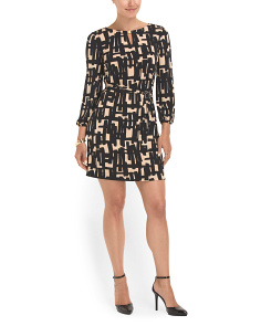 image of Geo Print Matte Jersey Dress
