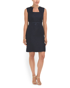 image of Textured Belted Cocktail Dress