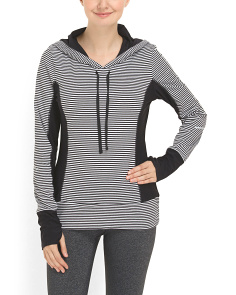 image of Cotton Blend Striped Hoodie