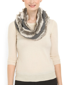 image of Faux Fur Trim Infinity Scarf
