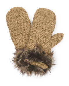 image of Women's Faux Fur Trimmed Mittens