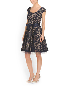 image of Lace Overlay Cocktail Dress
