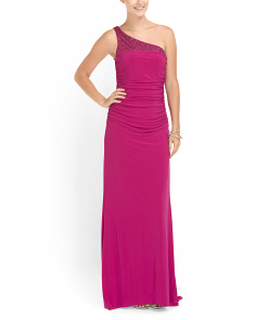 image of Beaded Shoulder Shirred Gown