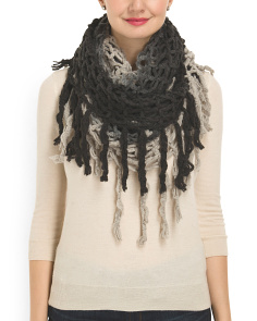 image of Fringed Open Weave Loop Scarf