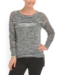 image of Cotton Blend Openwork Sweater