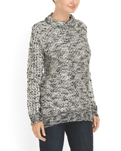 image of Faux Leather Patch Sweater
