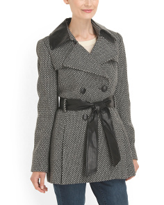 image of Faux Leather Detail Coat