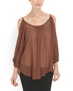 image of Beaded Cold Shoulder Top