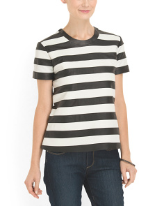 image of Lamb Leather Striped Top