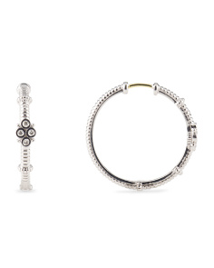image of Sterling Silver Diamond Hoop Earrings