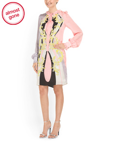 image of Silk Printed Tie Neck Dress