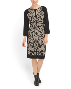 image of Jacquard Sweater Sheath Dress