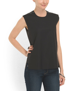 image of Leather Trim Structured Top