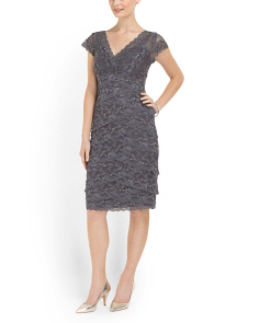 image of Beaded Stretch Lace Dress