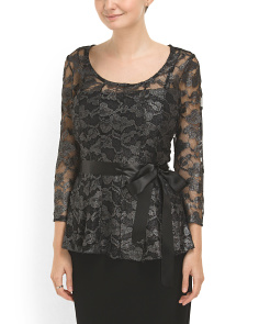 image of Sheer Sleeve Lace Top