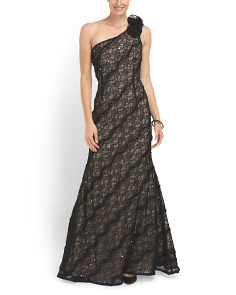 image of One Shoulder Sequined Gown