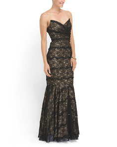 image of Strapless Lace Sweetheart Gown