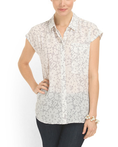 image of Silk Lace Printed Top