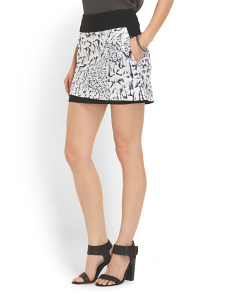 image of Linen Blend Strata Print Skirt
