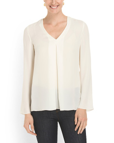 image of Silk Trent Long Sleeve Blouse