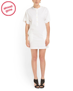 image of Cuffed Shift Poplin Dress