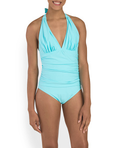 Halter Maillot With Shirring