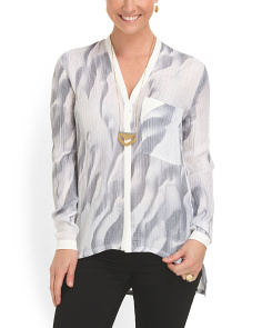 image of Silk Concelaed Placket Blouse