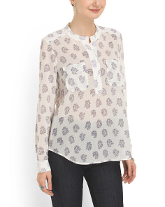 image of Print Double Pocket Blouse